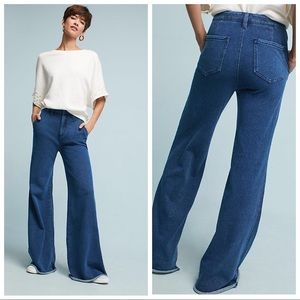 BNWT ANTHROPOLOGIE Denim Effect Knit Trousers 33